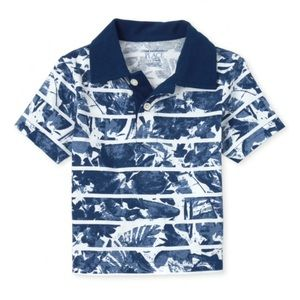 NWT PLACE Blue Print Jersey Polo Shirt 3T